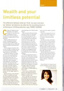 Wealth and Your Limitless Potential article by Tammy Hamawi
