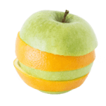 Apple with wrapped orange rind