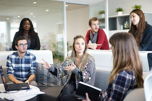 Group of people in office having a meeting